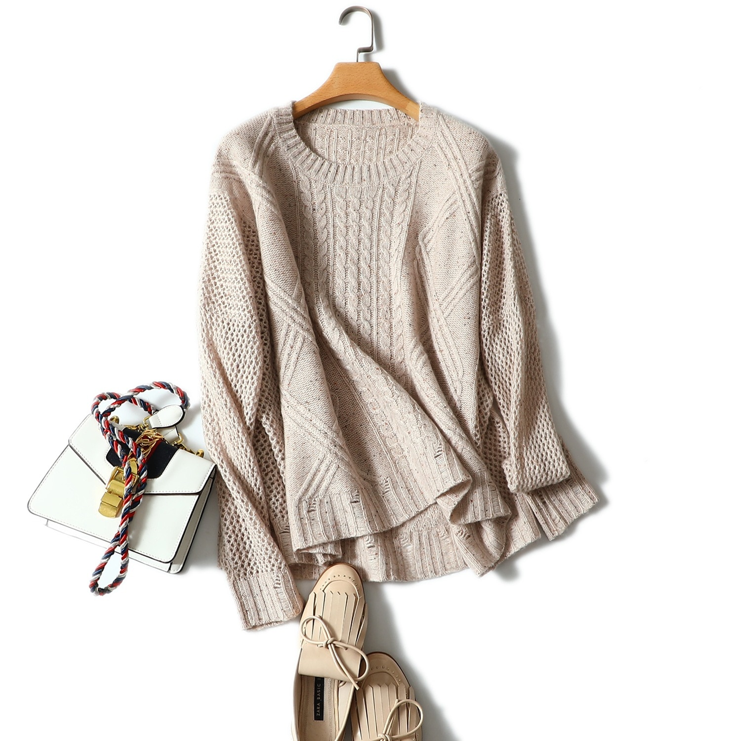 Shuchan 30% Cashmere 70% Wool Autumn Winter Knitwear Pullover Female Sweaters Hollow Out Loose Korean Women Sweater Knitting enlarge