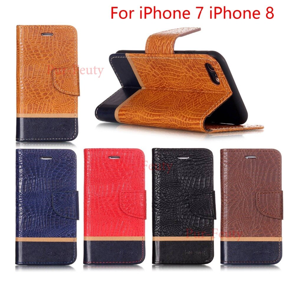 Funda abatible de lujo con ranura para tarjeta y soporte para iPhone 7 iPhone7 i7 fundas para iPhone 8 iP8 I8 tarjetas funda de teléfono de cuero PU con soporte