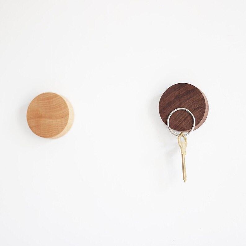 Магнитный держатель для ключей, деревянные Магнитные Крючки для ключей, круглая древесина 5х1, 2 см