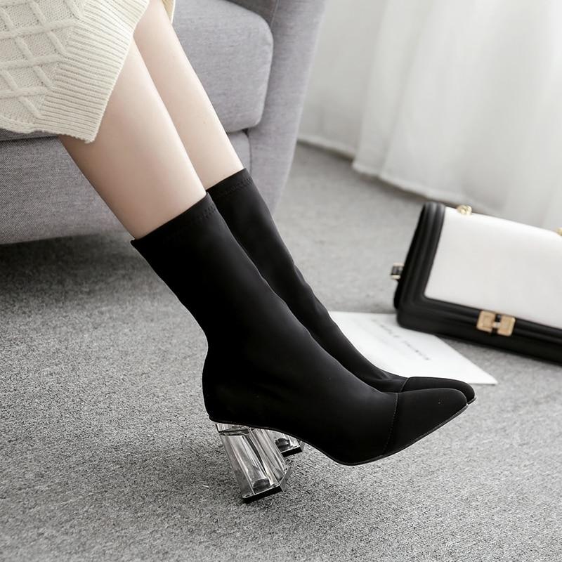 Botas tobilleras a la moda, botas gruesas de tacón alto con cristal transparente, puntiagudas, zapatos de tacón para mujer, botas elásticas de talla grande 35-42