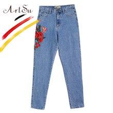 ArtSu petit ami femmes droite Jeans broderie taille haute bleu Denim pantalon pantalon femme surdimensionné Jeans Streetwear ASPA20066