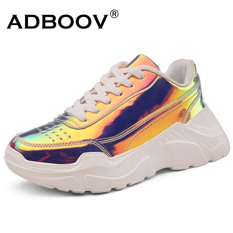 Женские кроссовки ADBOOV, модные разноцветные кроссовки из лакированной кожи на платформе