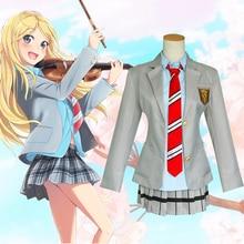 Votre mensonge en avril Miyazono Kaori Arima Kousei Cosplay Costume japonais Anime uniformes scolaires Costume dhalloween (manteau + jupe + cravate + s