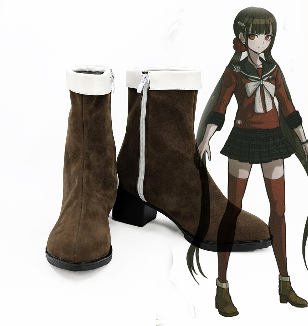 Danganronpa, zapatos Maki Harukawa, Cosplay ddanganronpa V3, Killing Harukawa Maki, botas de Cosplay, zapatos marrones, hechos a medida