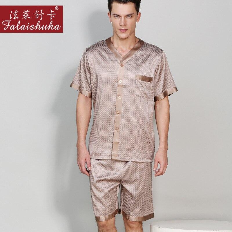 Натуральный шелк мужские% 27 пижамы 100% 25 шелкопряд шелк одежда для сна высокое качество с принтом с короткими рукавами пижама шорты из двух частей комплекты T9012