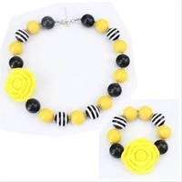 2020 child yellow resin flower pearl beads kids chunky bubblegum necklace and bracelet for baby girls jewelry