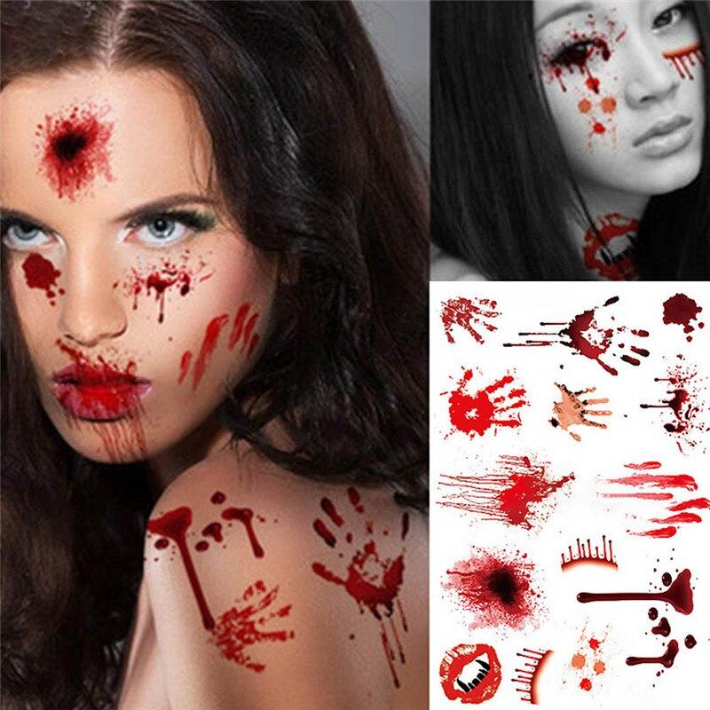 5 unidades/pacote Ferida Cicatriz Lesão No Sangue Horror Assustador À Prova D Água Etiqueta Do Tatuagem Halloween Decor