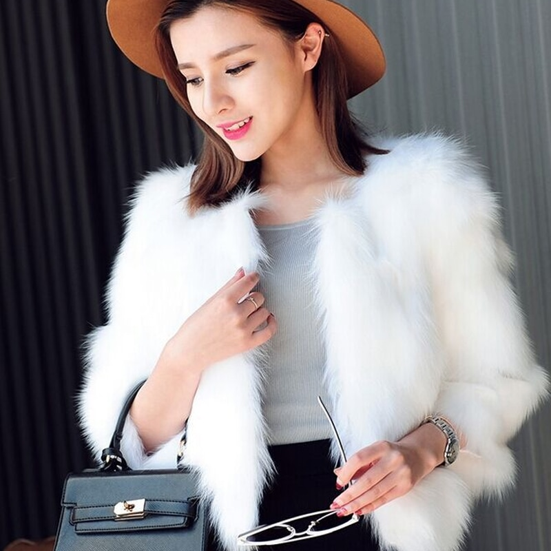 Piel Nueva imitación abrigo corto Piel negro blanco imitación sobretodo Estilo conejo chaqueta 3/4 manga delgada moda XXXL