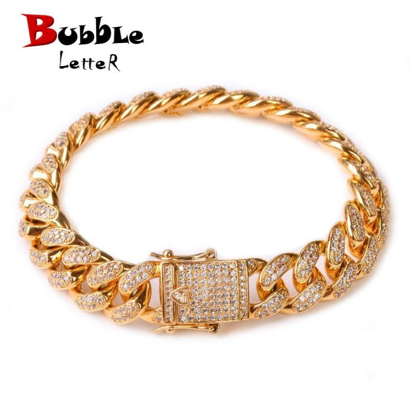 12MM Men Zircon Curb Cuban Link Bracelet Hip hop Jewelry Gold Color Thick Heavy Copper Material Iced CZ Chain Bracelet 8