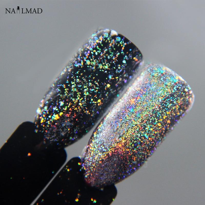 0,2 gramos/caja NailMAD Galaxy Holo copos Bling uñas Flecks polvo galaxia cromado copos láser copos