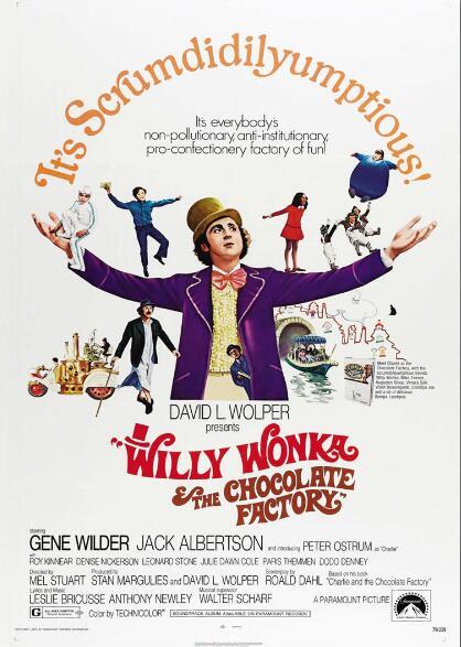 Cartel de pintura decorativa de seda de la película de la vendimia de la fábrica de chocolates de Wonka & the Chocolate, de 24x36 pulgadas