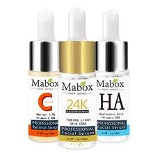 Mabox sérum rétinol visage + Six Peptides sérum visage 24 K Gold + acide hyaluronique sérum hydratant soin de la peau blanchissant AntiAnging