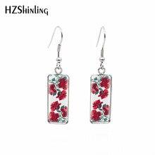 2019 New Red Rose Rectangular Earring Flowers Art Fish Hook Earring Romantic Ear Rings Hand Craft Jewelry