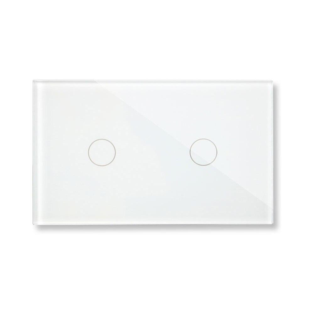 Bingoelec interruptor de pantalla de Sensor táctil estándar US/AU Panel de cristal de lujo 2 Gang 1 Way interruptor de pared de luz táctil AC 110-250 V