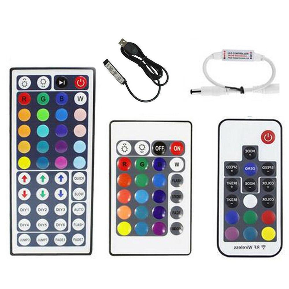 Controlador LED RGB USB 24key 44key 17key RF, Mini controlador remoto inalámbrico para RGB 3528 5050, cinta de iluminación Led 5v 12v