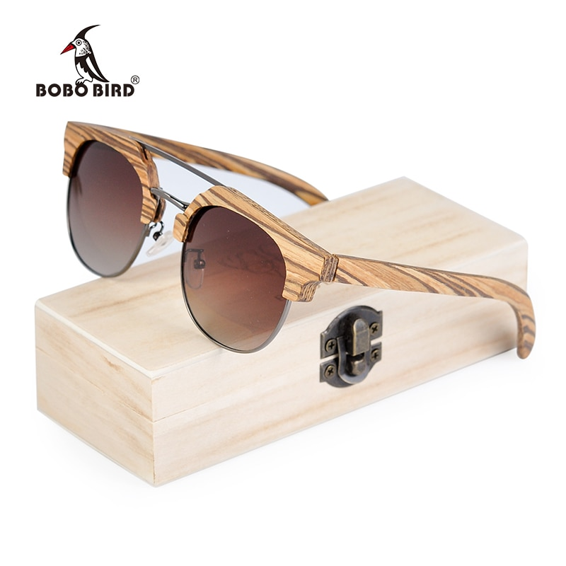 BOBO pájaro Zebrano gafas de sol de madera de las mujeres polarizadas Vintage Retro gafas UV400 occhiali único rotondi son