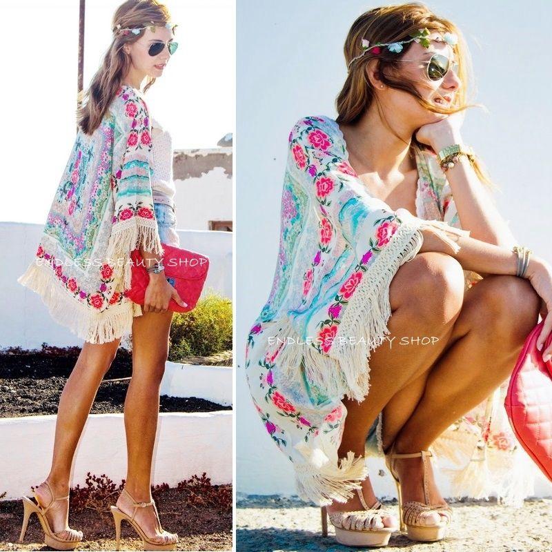 2019 New Fashion Shirts Women Boho Fringe Floral Kimono Cardigan Tassels Beach Cover-Up Cape Blouse Woman Tops