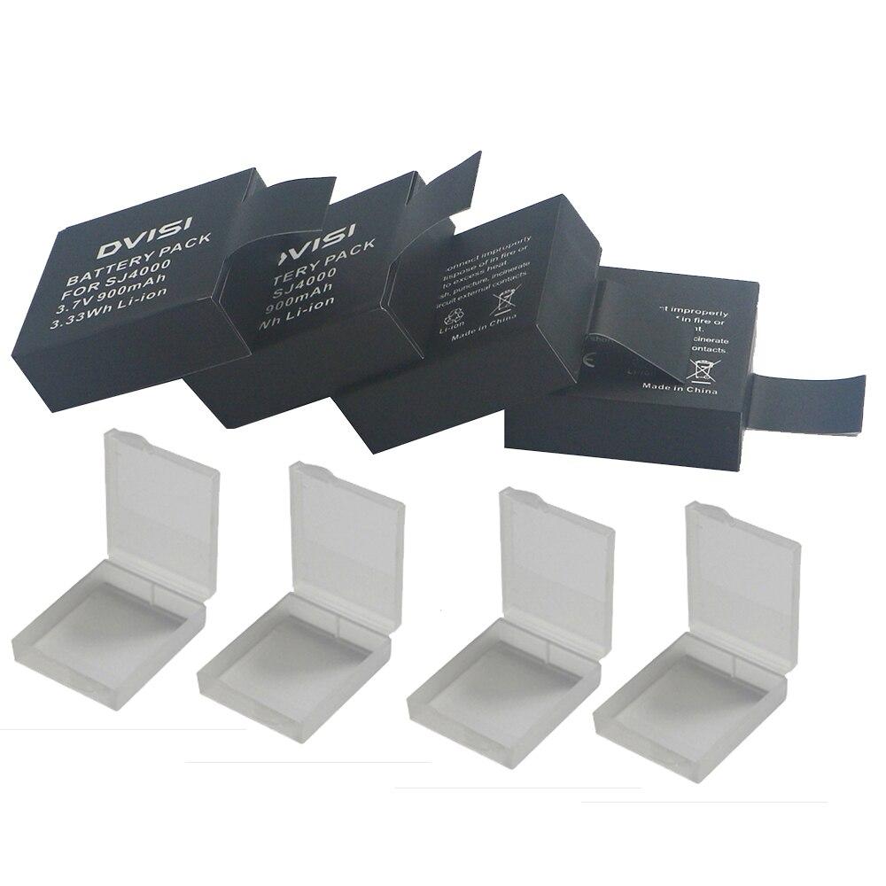 4 шт./лот 3,7 V 900mAh Батарея с ящиками для хранения для SJCAM SJ 4000 5000 SJ4000 SJ5000 SJ6000 камера Спортивная камера DV аксессуары