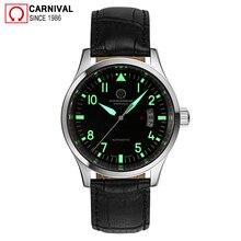Carnival Fashion Automatic Watch Men Luminous Hands Mens Pilot Watches Top Brand Luxury Wristwatch Male Clock erkek kol saati