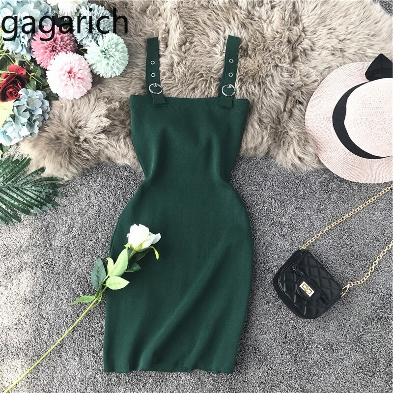 Vestido de mujer Gagarich 2019 de moda novedad de verano Sexy pecho bajo ajustado sólido ceñido traje elástico Mini vestidos cortos