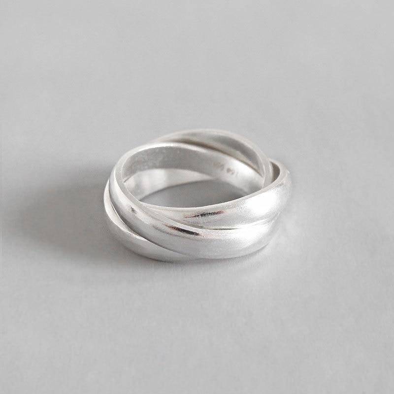 Joyería de plata de ley S990, anillos abiertos a la moda para mujer, anillo esmerilado opaco de Triple círculo, anillo de compromiso para novia, regalo