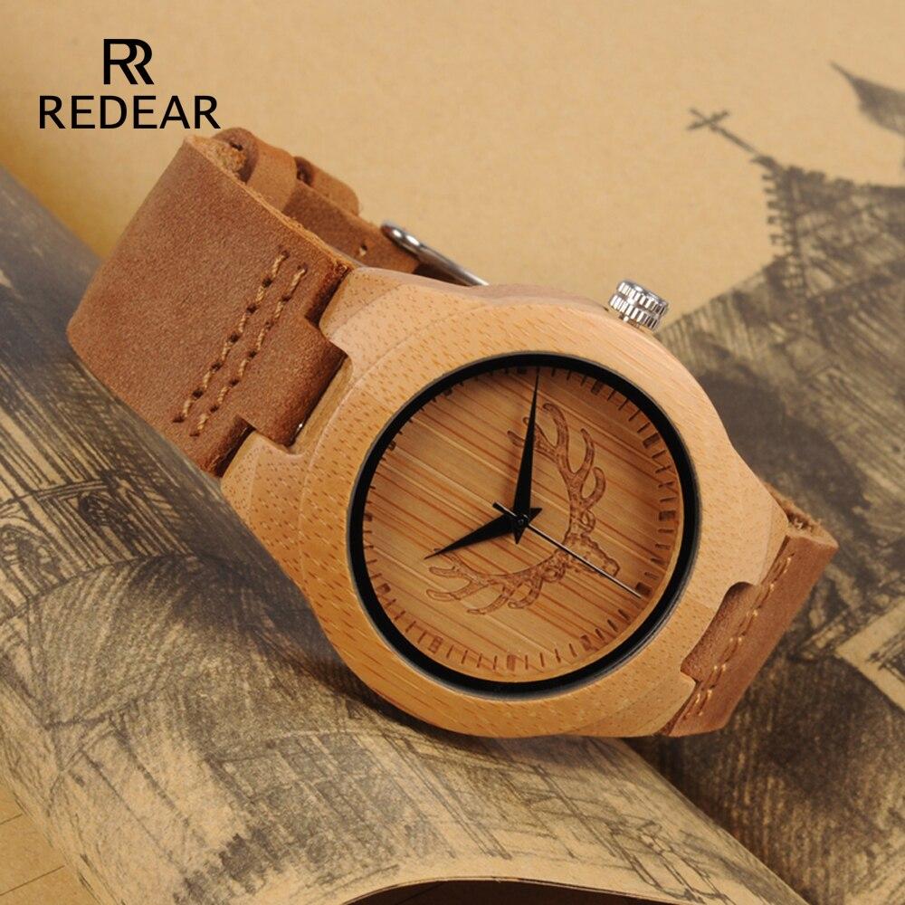 REDEAR ciervos diseño de la cabeza de Buck de madera de bambú reloj de oro de lujo relojes de madera con cuero suave correa de reloj de los hombres de la boda regalo