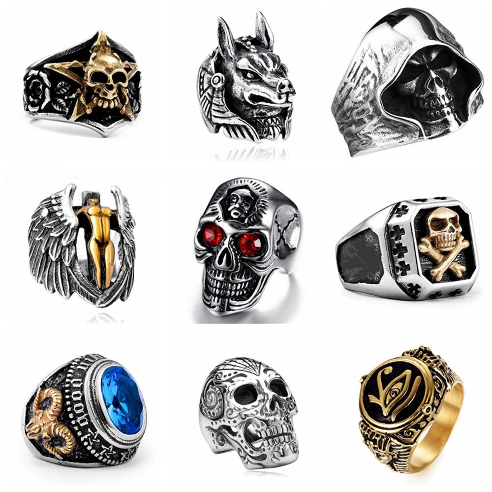 Anillos de calavera de estilo gótico Vintage para hombre, anillos turcos de estilo Punk de hip hop, joyería Steampunk para hombre, regalos