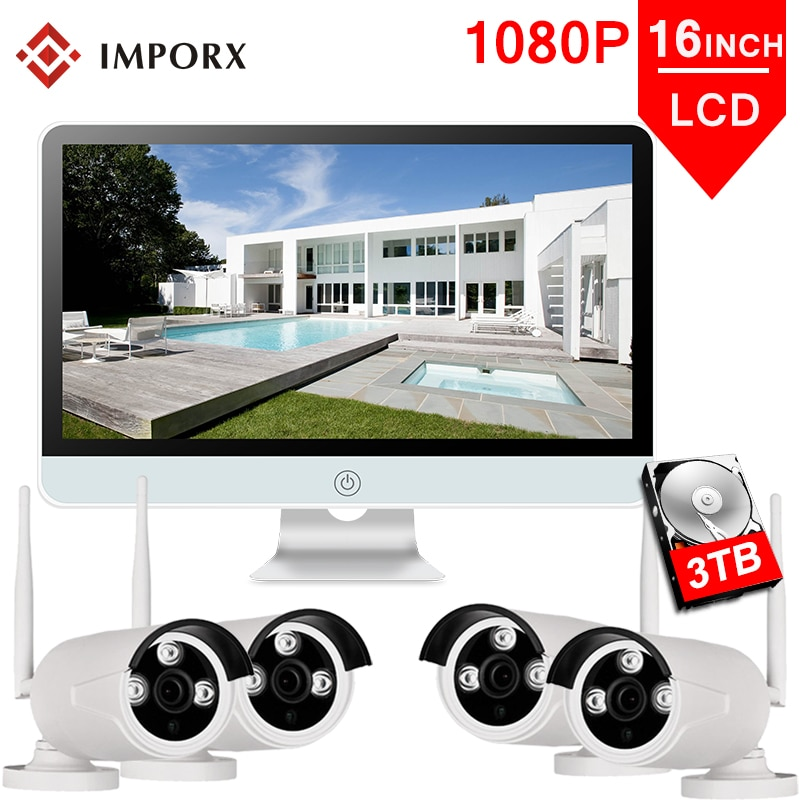 "IMPORX 4CH 1080P Wireless 16""LCD Display CCTV NVR Kit 2MP Outdoor Security Video Surveillance Set WIFI IP CCTV Camera System 3TB"