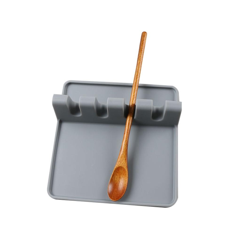 Soporte de silicona para cuchara, utensilio de cocina, reposapiés, tenedores, esterilla resistente al calor, verde/gris/Negro, organizador para Cocina