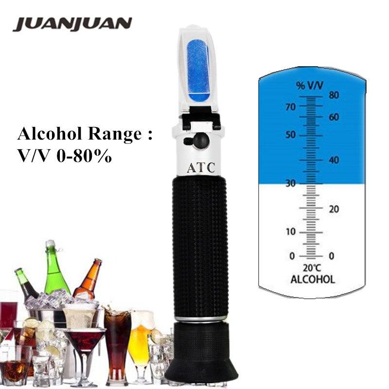 Alcohol Refractometer Handheld 0-80% ATC Spirits Tester Meter Alcoholometer liquor Wine Content Tester 40% off