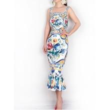 السباغيتي فستان بحزام 2018 الفاخرة الأزرق والأبيض الخزف طباعة عادية البوق غمد منتصف العجل ساحة طوق جديد وصول فستان