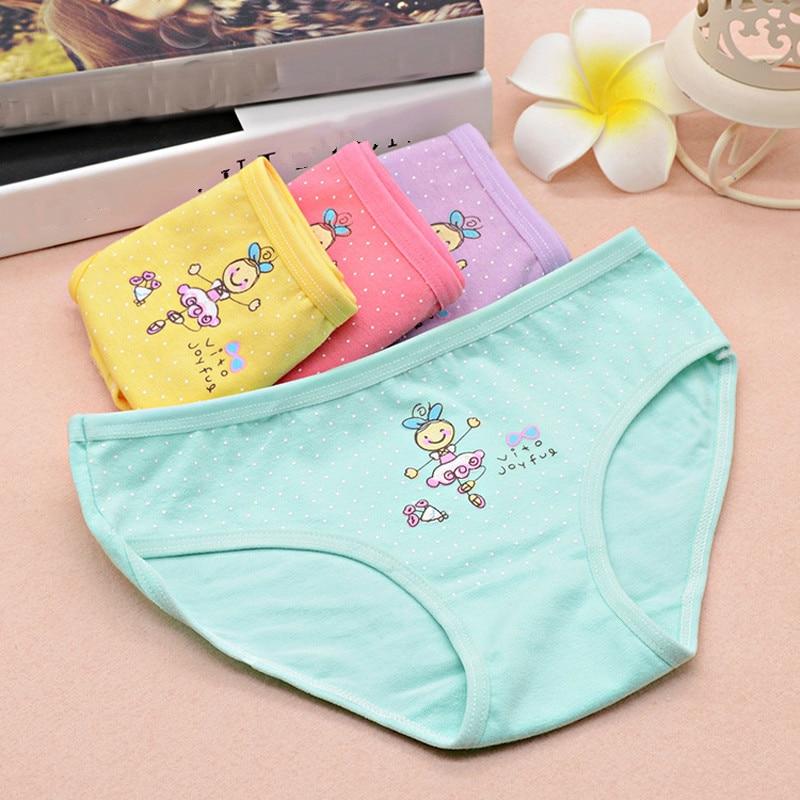 4 Pcs 2-6 Years Girls Cotton Panties Lot Cartoon Print Underwear Set Kids Intimates Children's Clothing in Pink Yellow