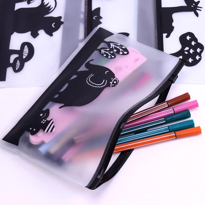 Милые прозрачные водонепроницаемые пеналы из ПВХ с животными, сумки для хранения канцелярских принадлежностей, офисные и школьные принадлежности, сумки для карандашей для девочек