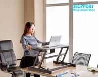 2019 new ergonomic easyup with handle sit stand desk riser foldable laptop desk stand with keyboard tray notebookmonitor holder