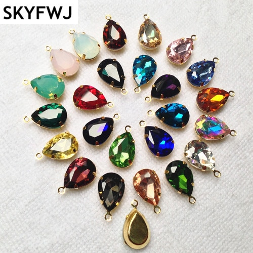 Link2 piedras de cristal en forma de lágrima de 13x18mm de colores intensos en latón, Base de Metal, garra de ajuste, una gota de bucle para coser en diamantes de imitación