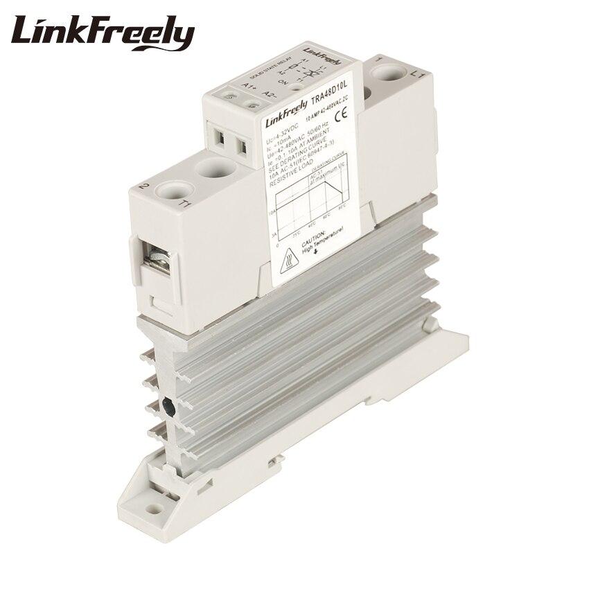TRA48D10L 10A disipador de calor integrado SSR relé de estado sólido carril Din 5V 12V 24V 32VDC entrada 42-480VAC salida relé de corriente eléctrica