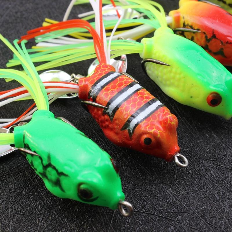 5 pièces 3cm 4g MINI grenouille appâts pêche leurres grenouille Silicone 2 crochets et cuillère petite grenouille doux appâts haut eau Topwater