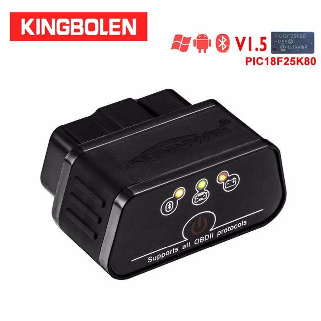 Автомобильный сканер ошибок Konnwei KW903 Icar2 bluetooth elm327 V1.5 Pic18f25k80, сканер OBDII ELM 327 OBD для Android