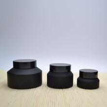 10X15G 30G 50G Vorst Crème Glas Matte Pot Pot Met Zwarte Deksels Wit Seal Huid zorg Gezichtsmasker Cosmetische Verpakking Container