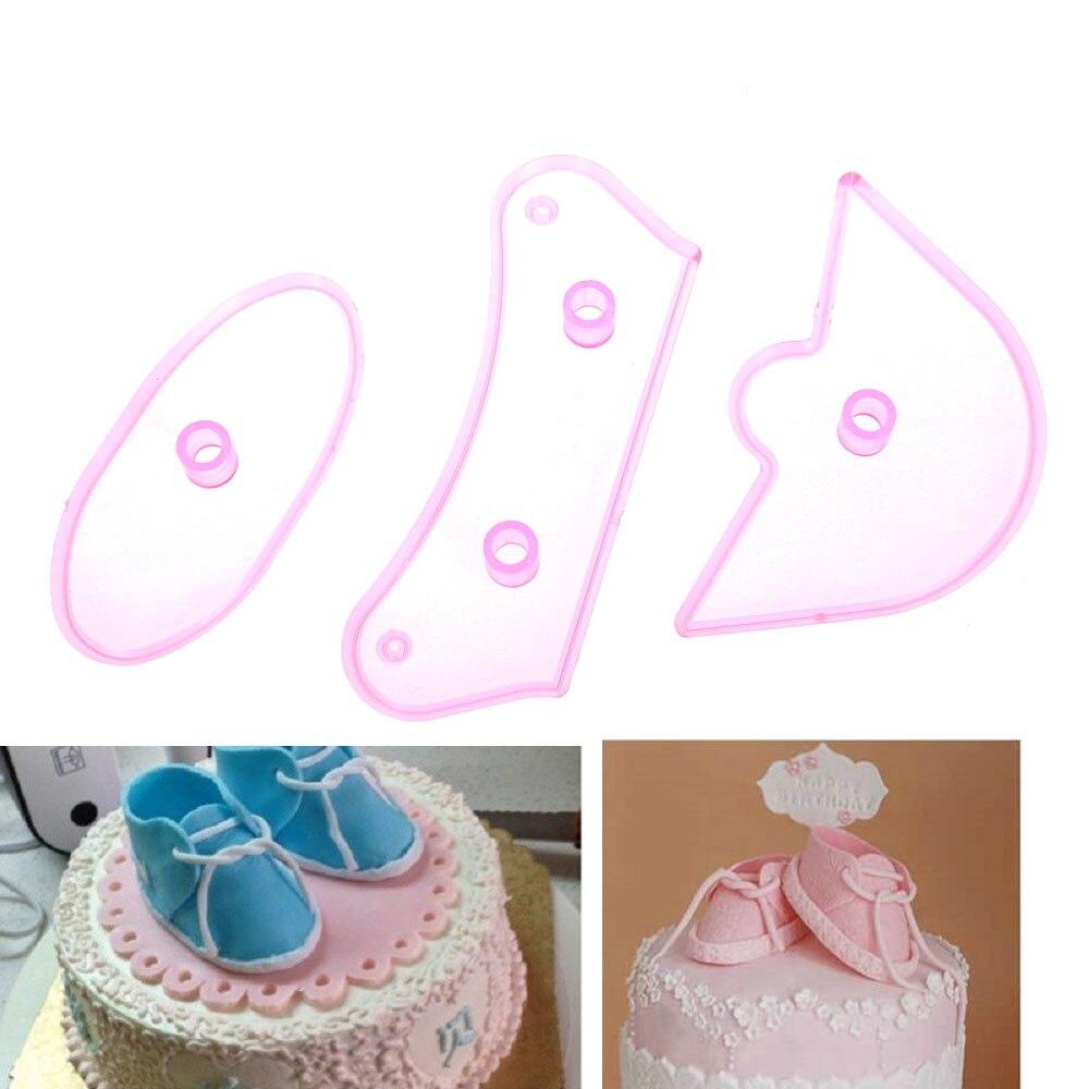 3 pçs/set Sapatilha Sapato Molde do bolo Fondant Ferramentas de Decoração Do Bolo de Aniversário Do Bebê Embosser Cookie Cutter Sugarcraft Mould