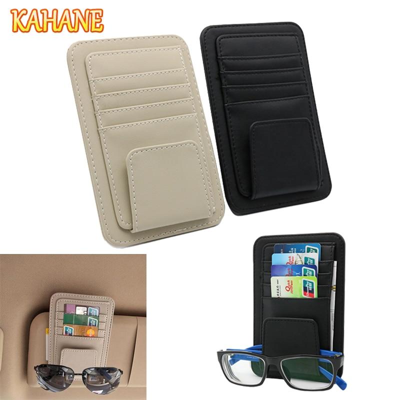 KAHANE Sunshades Leather Car Sun Visor Sunglasses Holder Clip Credit Card Package FOR BMW M G30 X1 F10 E30 E46 E92 Mini Cooper