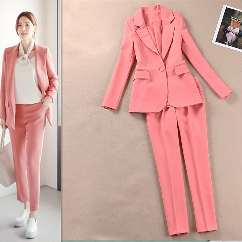 2 piece outfits for womenPolyester casual suit suit Korean version of the thin suit jacket nine pants pink women's two-piece new pants pants summer seven sleeved suit suit male korean version of the slim fashion hair stylist trend leisure suit two piece
