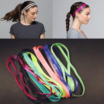 1pcs ON SALE Double Elastic Headband Softball Anti-slip Silicone Rubber Hair Bands Bandage On Head For Hair Scrunchy
