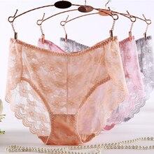 Mince grande taille culotte pour femmes Sexy dentelle creux Transparent grande taille taille moyenne slips grande femme sous-vêtements Xxxl