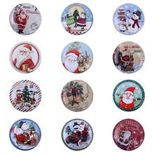 Christmas Candy Box Jar Lovely Clear Xmas Santa Elk Snowman Sweet Sugar Case Tin Plate Candy Jar Round Creative Handsome 7A2444
