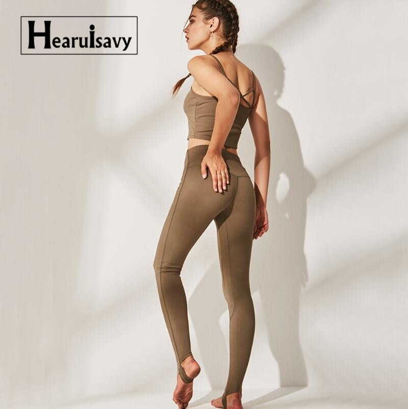Yoga Set Seamless Leggings+Strappy Bra 2Pcs Women Gym Fitness Clothing High Waist Yoga Leggings Set Running Sportswear