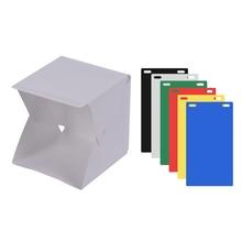 Tragbare DIY LED Studio Licht Box Zelt Kit Mini Faltbare Foto Studio Softbox 6 Verschiedenen Farben von Kulissen 5V 1A USB Eingang