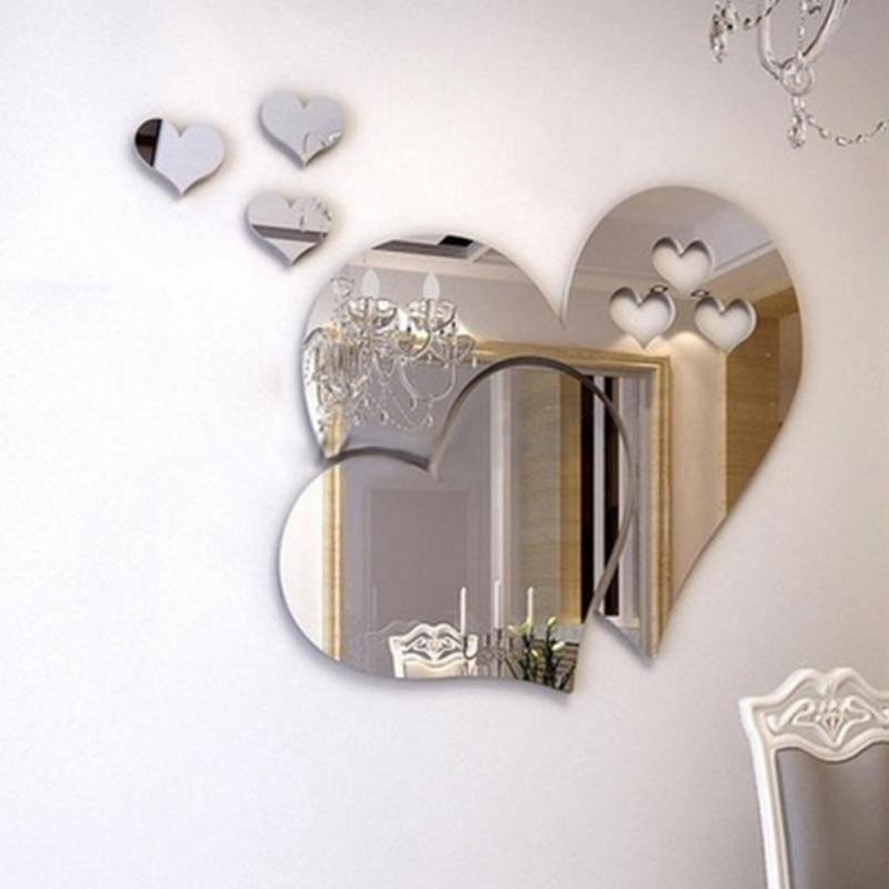 Calcomanía de arte 3D, Mural de espejo, pegatinas de corazones de amor para dormitorio, sala de estar, centro comercial, pegatinas de boda DIY, Mural de arte para el hogar
