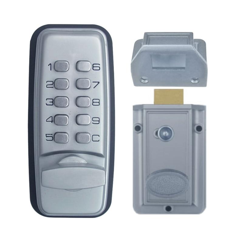 قفل باب بكود ميكانيكي ، للآلات الرقمية ، لوحة مفاتيح بكلمة مرور ، الفولاذ المقاوم للصدأ ، سبائك الزنك ، الفضة 1705
