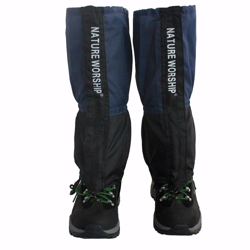 Natrure woship 1 par de mallas impermeables para exterior, senderismo, escalada, caza, nieve, polainas, polainas de esquí, polainas azules y rojas
